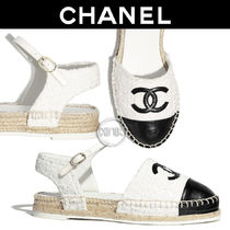 CHANEL Platform Round Toe Casual Style Tweed Bi-color Plain Leather