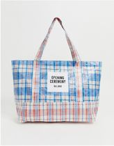 OPENING CEREMONY Other Plaid Patterns Casual Style Unisex A4 Totes