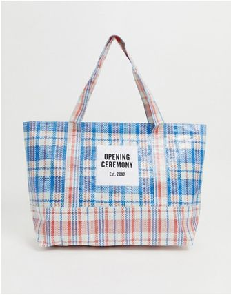 Other Plaid Patterns Casual Style Unisex A4 Totes