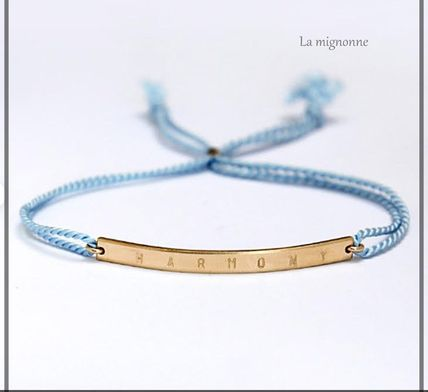Casual Style Initial 18K Gold Bracelets