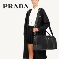PRADA Unisex Nylon Blended Fabrics A4 2WAY Leather Logo