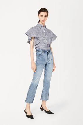 Stripes Casual Style Cotton Short Sleeves Puff Sleeves