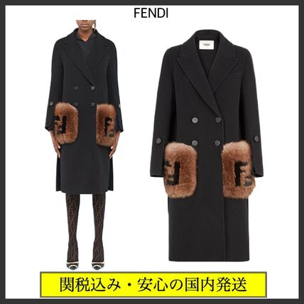 FENDI Wool Fur Plain Long Party Style Office Style Elegant Style