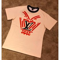 Louis Vuitton MONOGRAM Crew Neck Short Monogram Bi-color Cotton Short Sleeves Logo