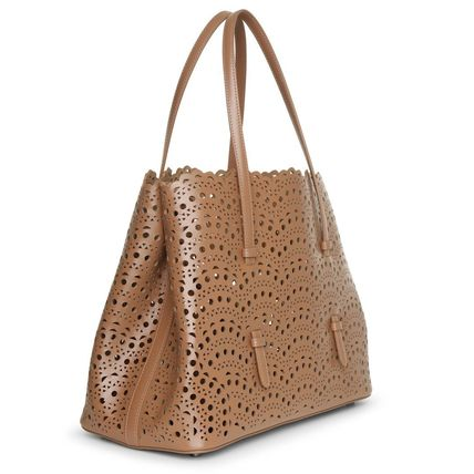 Calfskin 2WAY Plain Leather Elegant Style Totes