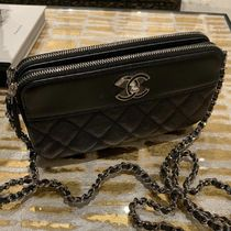 CHANEL 2WAY Plain Leather Crossbody Logo Shoulder Bags