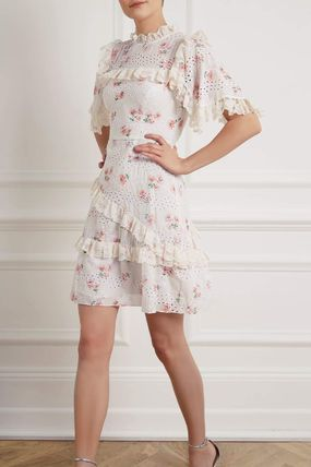 Short Flower Patterns Cotton Short Sleeves Party Style