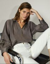 Massimo Dutti Silk Linen Long Sleeves Plain Shirts & Blouses