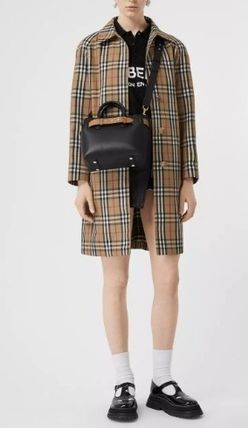 Burberry Casual Style Street Style Leather Totes