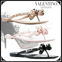 VALENTINO Open Toe Casual Style Blended Fabrics Studded Street Style