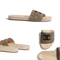 CHANEL Tweed Blended Fabrics Mules Logo Sandals