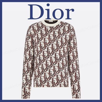 Christian Dior Sweaters Crew Neck Cashmere Street Style Long Sleeves Logo Luxury