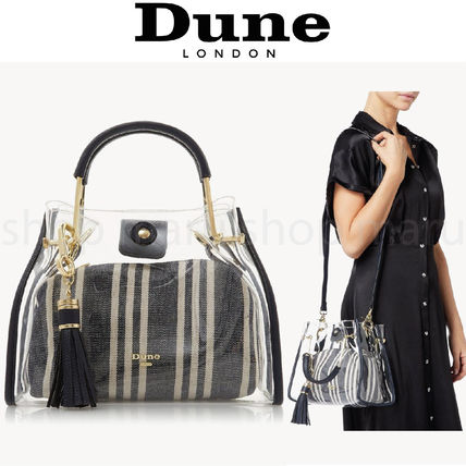 Casual Style Faux Fur 2WAY Crystal Clear Bags PVC Clothing
