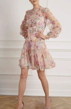 Short Flower Patterns Flared Long Sleeves Party Style