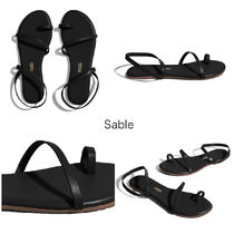 TKEES Lace-up Casual Style Plain Leather Flip Flops Elegant Style