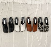 Zebra Patterns Square Toe Casual Style Faux Fur Street Style