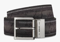 Berluti Street Style Leather Long Belt Logo Belts