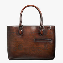 Berluti Street Style A4 Leather Logo Business & Briefcases