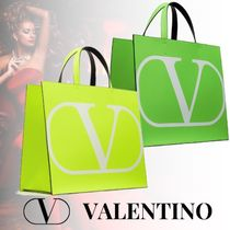 VALENTINO VLOGO Calfskin Street Style A4 Plain Leather Logo Neon Color Totes