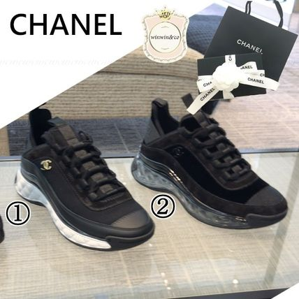 CHANEL Casual Style Suede Low-Top Sneakers