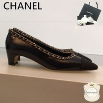 CHANEL Casual Style Chain Leather Pumps & Mules