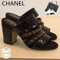 CHANEL Chain Leather Elegant Style Sandals