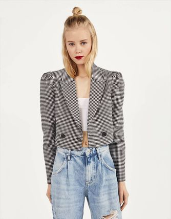 Short Gingham Casual Style Street Style Jackets