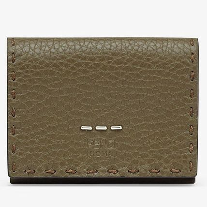 FENDI SELLERIA Unisex Calfskin Plain Leather Folding Wallet Logo Military