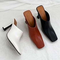 Square Toe Casual Style Faux Fur Plain Pin Heels Sabo Mules