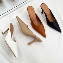 Casual Style Faux Fur Plain Pin Heels Mules Heeled Sandals