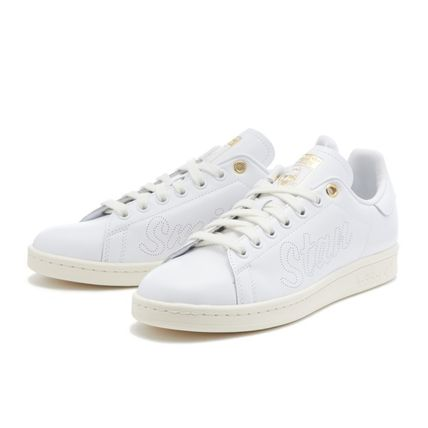 Unisex Street Style Plain Leather Logo Metallic Sneakers