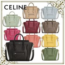 CELINE Luggage Casual Style Calfskin 2WAY Plain Office Style Elegant Style