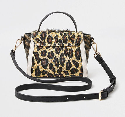 Leopard Patterns Casual Style Crossbody Logo Satchels