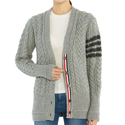 THOM BROWNE Cable Knit Stripes Casual Style Wool Long Sleeves