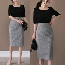 Pencil Skirts Casual Style Linen Plain Medium Office Style