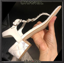 CHANEL ICON Open Toe Casual Style Chain Plain Leather Block Heels