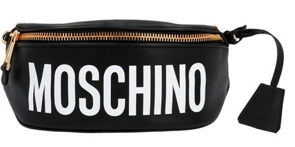 Moschino Casual Style Unisex Calfskin 2WAY Plain Leather Crossbody