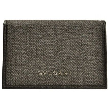 Bvlgari Unisex Plain Leather PVC Clothing Khaki Folding Wallet Logo