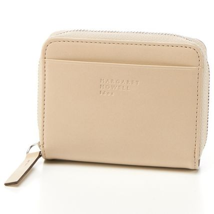Plain Leather Folding Wallet Long Wallet  Logo