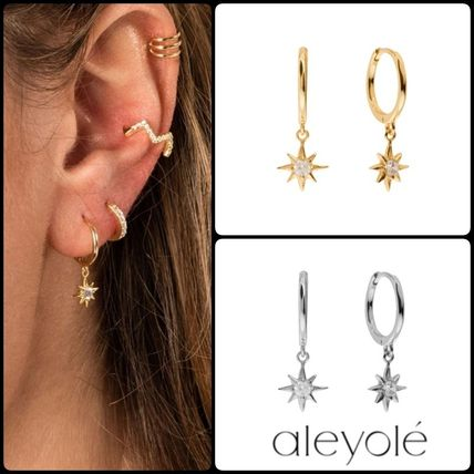 Casual Style Silver 18K Gold Elegant Style Earrings