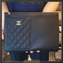 CHANEL ICON Unisex Calfskin Bag in Bag 2WAY Bi-color Plain Leather