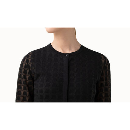 Casual Style Wool Silk Long Sleeves Office Style