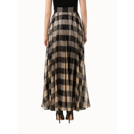 Gingham Casual Style Silk Pleated Skirts Long Office Style