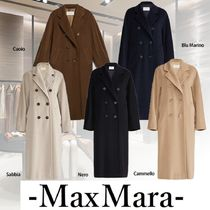 MaxMara MADAME Casual Style Wool Cashmere Blended Fabrics Plain Long
