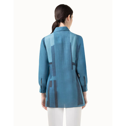 Casual Style Wool Long Sleeves Office Style Shirts & Blouses