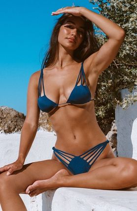 Plain Halter Brazilian Lace Up Swimwear