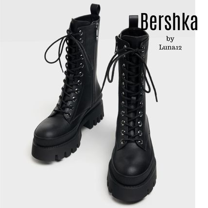 Bershka Platform Lace-up Casual Style Faux Fur Plain Lace-up Boots