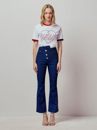 Denim Studded Street Style Plain Cotton Long Fringes