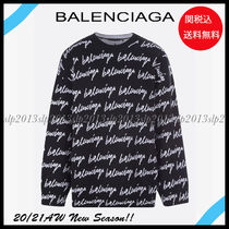 BALENCIAGA Crew Neck Wool Blended Fabrics Street Style Long Sleeves
