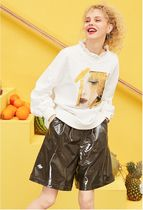 ELF SACK Short Casual Style Faux Fur Street Style Plain Cotton Medium